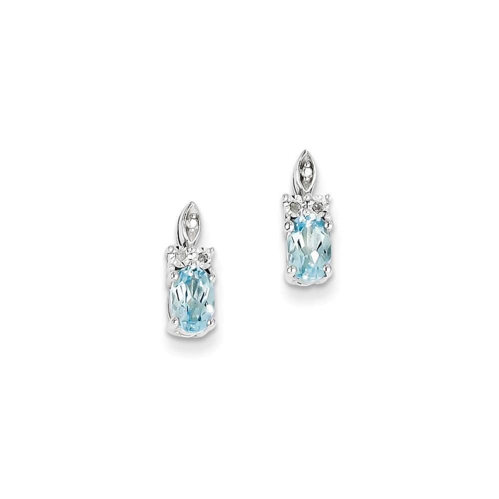 Sterling Silver 0.4IN Long Diamond & Light Blue Topaz Earrings