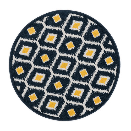 Ebern Designs Laudenslager Navy/Lemon Area Rug