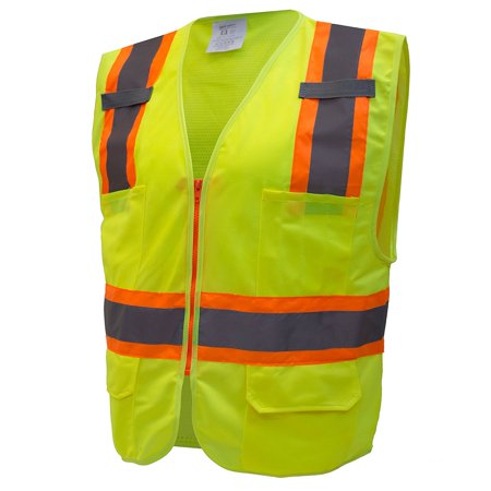 RK Safety Two Tone High Visibility Safety Vest- ANSI Class 2 - Neon Yellow / Extra Large
