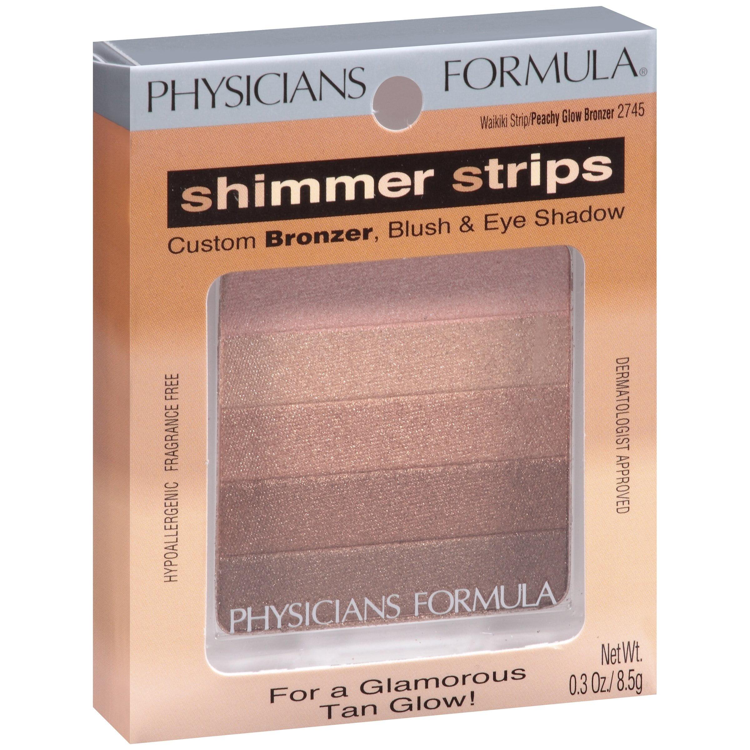 Physicians Formula Shimmer Strips Custom Bronzer, Blush and Eye Shadow, Waikiki Strip Peach Glow 2745