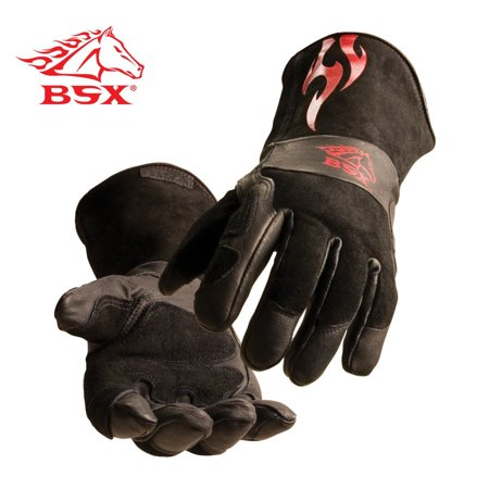 BSX Stick/MIG Welding Gloves - Black with Red Flames, Size Large, Premium grain pigskin palm with side split cowhide back BSX stick/MIG gloves By Revco