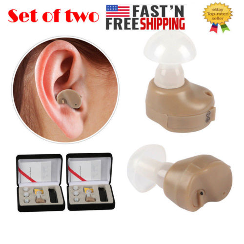 2Pc Small In The Ear Invisible Best Sound Amplifier Adjustable Tone Hearing Aids