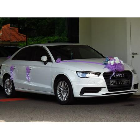 LAMINATED POSTER Car Decorating Wedding Car New Car White Car Poster Print 24 x 36 - Wedding Car Decorate