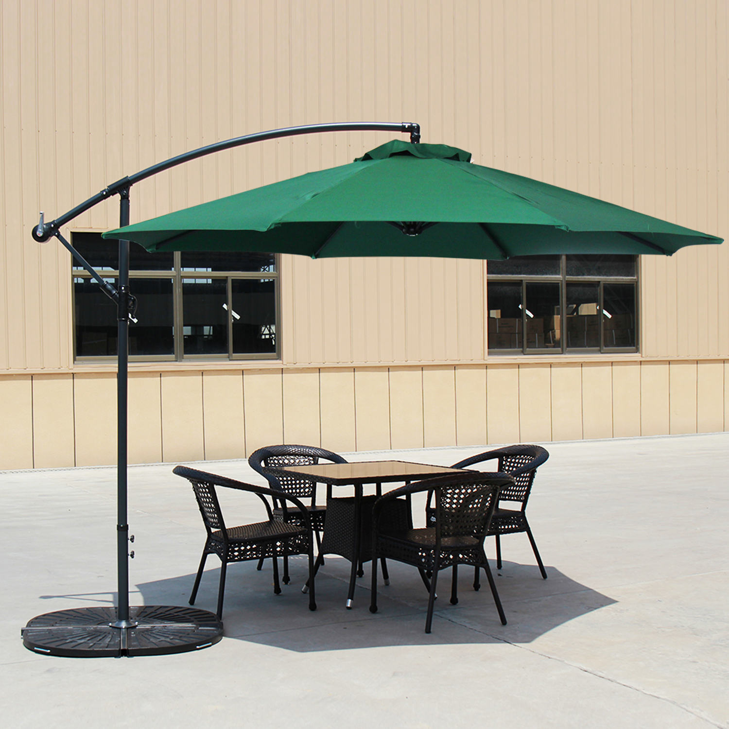 Baner Garden 10' CA-2001G Offset Hanging Patio Adjustable Polyester UV Umbrella Freestanding Outdoor Parasol Cantilever with Crank Lift, Green