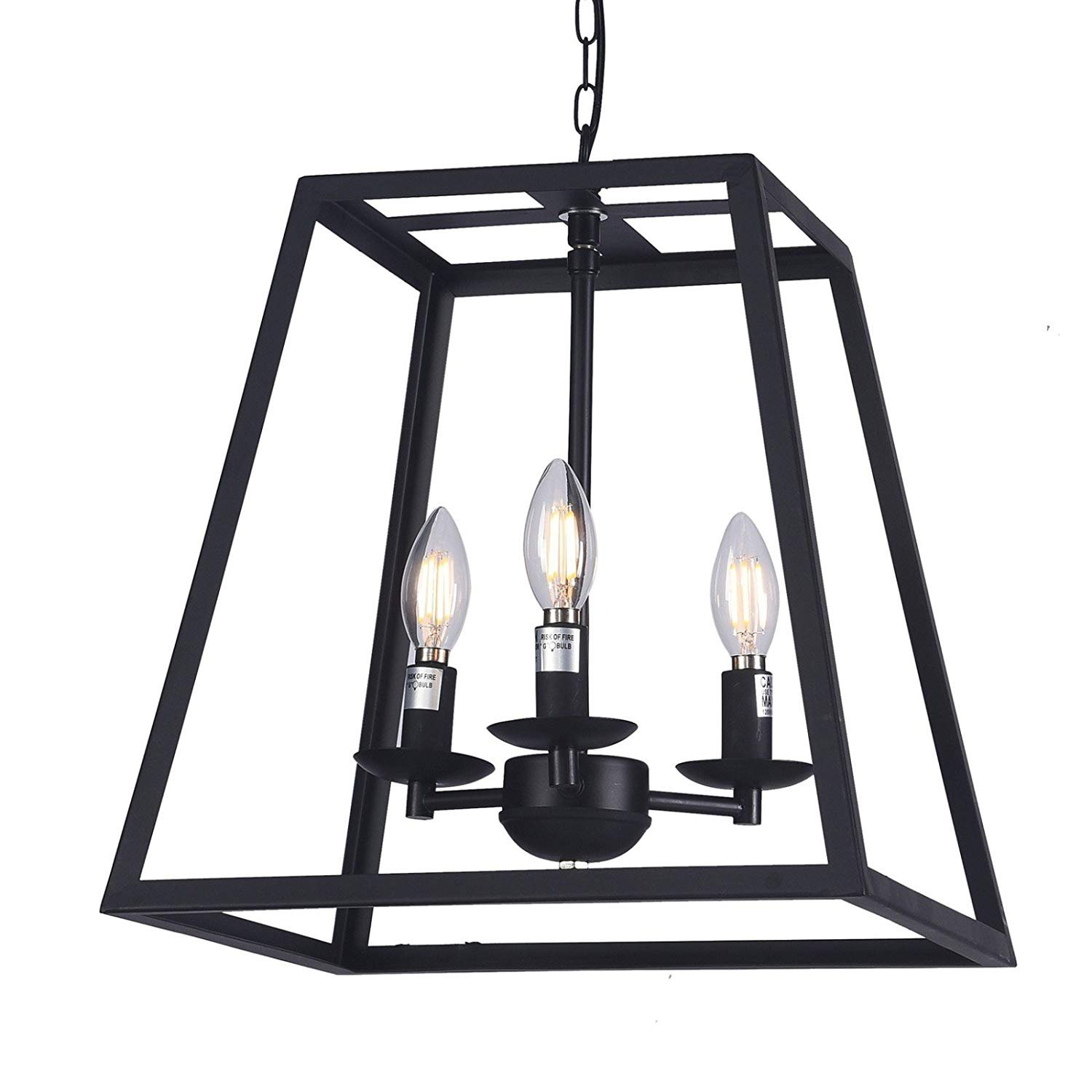 Wideskall 14 Quot Modern Black Metal Iron Frame Square Cage