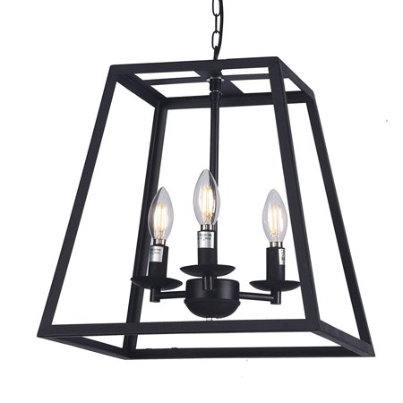 Wideskall 14 Modern Black Metal Iron Frame Square Cage Chain Hanging Chandelier Ceiling Light 3