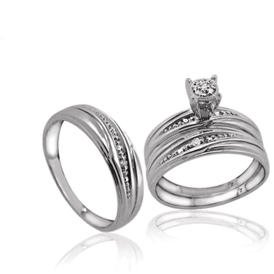 JewelersClub 1/20 Carat T.W. White Diamond Sterling Silver Trio Engagement Ring Set