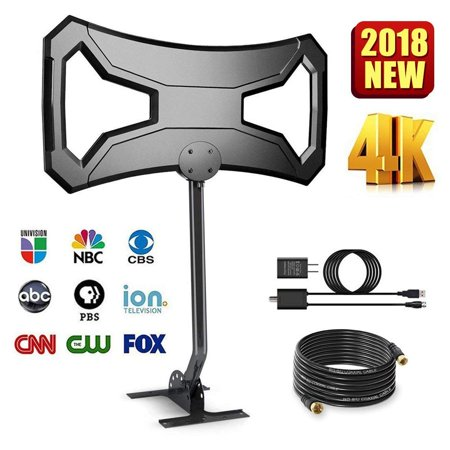 Coolmade Outdoor 180Miles Amplified TV Antenna - Upgraded HDTV Antenna Long Range Omni-Directional with Pole Mount High Difinition Digital TV Antenna for 4k 1080p FM/VHF/UHF 32Ft RG6 Copper Cable Dome Omni Directional Amplifier