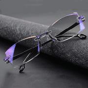 2 Pack Rimless Blue Light Blocking Reading Glasses for Men Women Computer Glasses Anti Glare Anti Reflection Flexible Rectangular +2.5