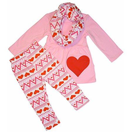 Unique Baby Girls 3 Piece Matching Pink Valentine's Day Heart Legging Set (5T, Pink) (Three Piece Baby Set)