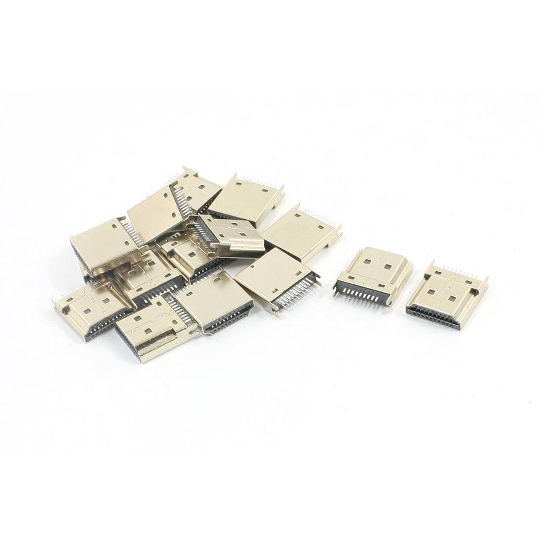 15pcs Gold Tone 1.2mm Slot Width Mini 19Pin HDMI Female Connector SMT 180 Degree