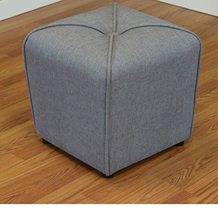 ModHaus Living Modern Linen Upholstered Footstool Ottoman with Thick Foam - Includes Pen (Grey)