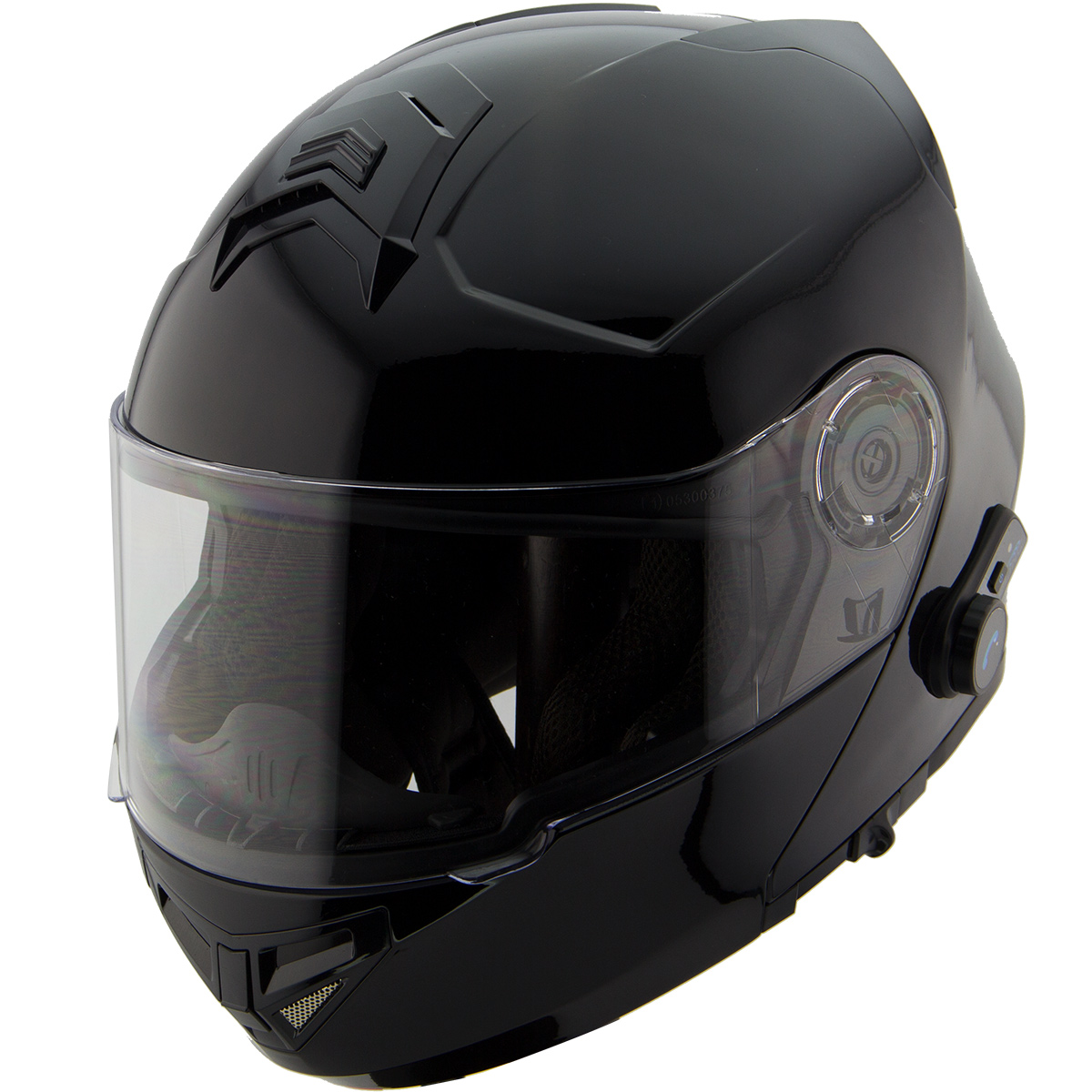 Hawk H7000 Glossy Black Modular Motorcycle Helmet with Blinc Bluetooth