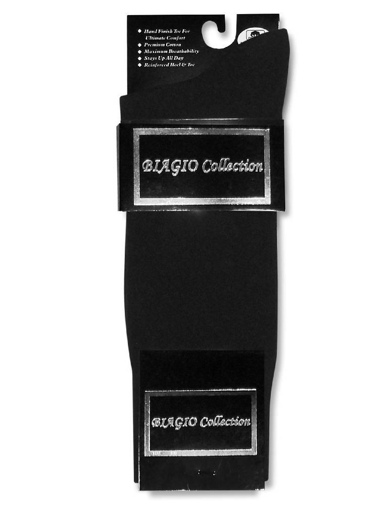 1 Pair of Biagio Solid Men's BLACK Color COTTON Dress SOCKS