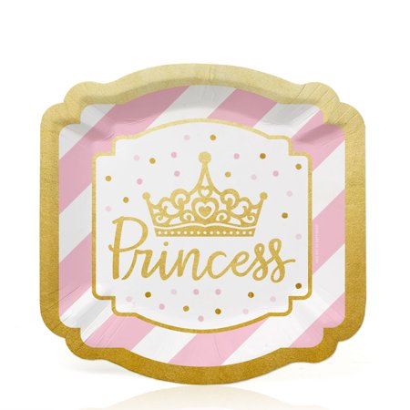 - Little Princess Crown with Gold Foil - Pink and Gold Princess Baby Shower or Birthday Party Dessert Plates (16 Count)