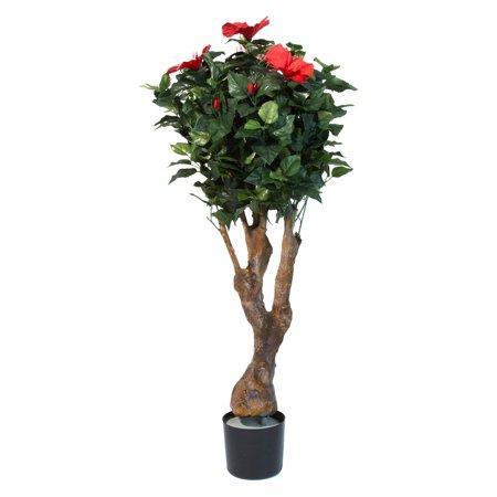 Pure Garden 48 In Artificial Hibiscus Tree With Flowers Walmartcom