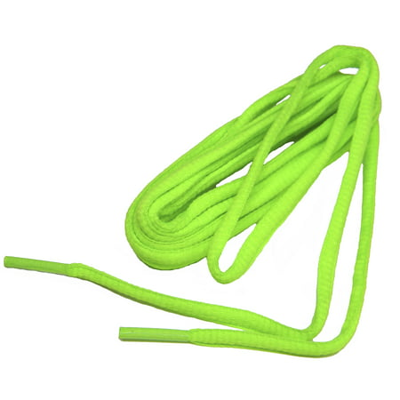 54 Inch 137 cm Neon Green professional proATHLETIC™ Oval sneaker shoelaces - (2 Pair - Lighted Shoelaces