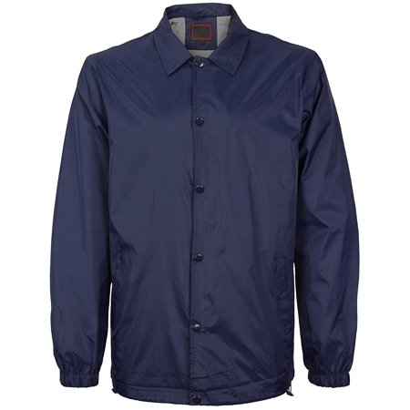 Men's Lightweight Water Resistant Button Up Nylon Windbreaker Coach Jacket (Navy, L)