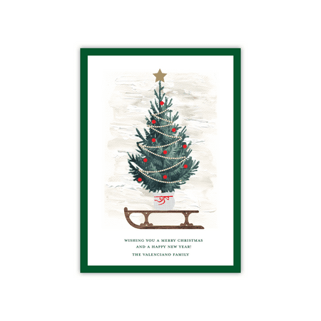 Personalized Holiday Card - Sledding Tree - 5 x 7 Flat ()