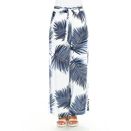 Gemans Women's Tropical Print Palazzo Wide Leg Pants Monstera Palm Leaf Self Tie Waist White/Blue Small