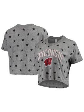 Wisconsin Badgers Alternative Apparel Women's Headliner Stars Cropped Tri-Blend T-Shirt - Gray