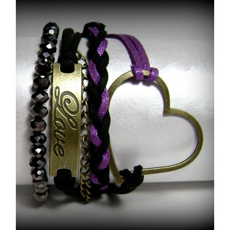 Valentine Gift Idea Bronze Heart Love Crystal Beaded Faux Suede Metallic Purple Black Leather 5 Strand 2 in 1 Bracelet #59](Rave Bracelet Ideas)