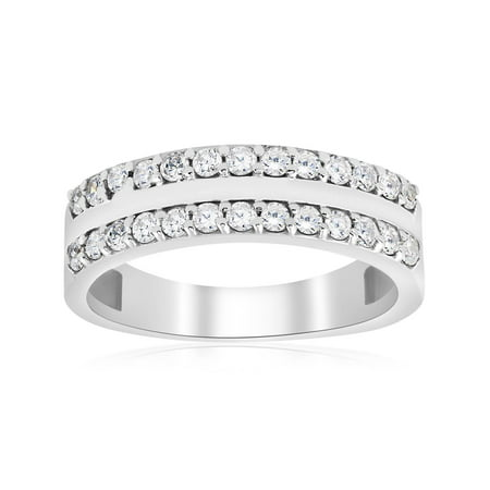 Diamond Wedding Ring 3 4 Ct Double Row Half Eternity Womens 14k White Gold Band