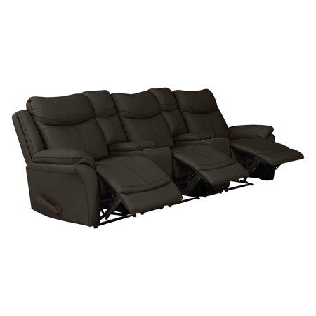 Excellent Copper Grove Peqin 3 Seat Faux Leather Recliner Sofa With Power Storage Console Frankydiablos Diy Chair Ideas Frankydiabloscom