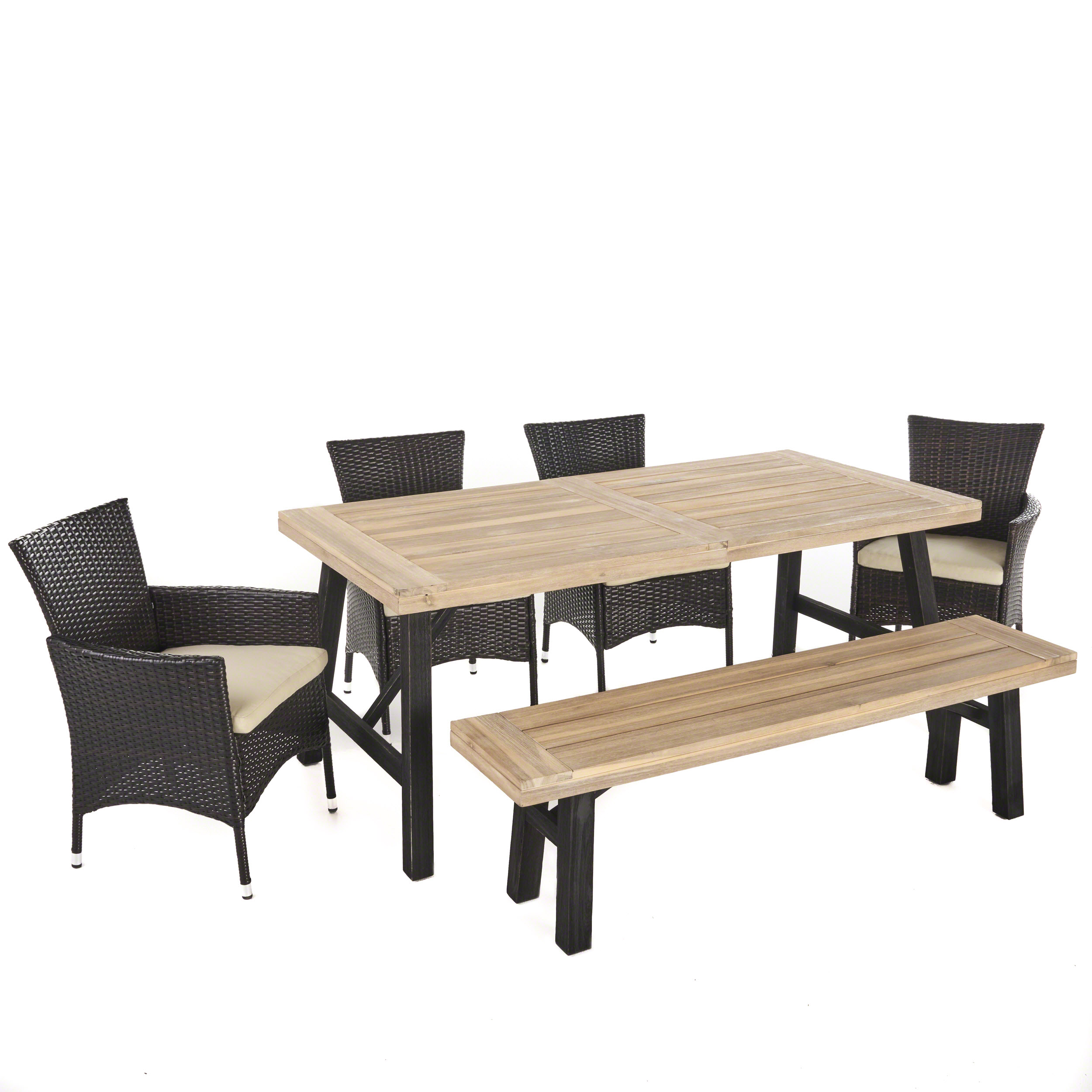 Jacks Outdoor 6 Piece Acacia Wood Dining Set with Multibrown Wicker Dining Chairs and Water Resistant Cushions, Grey