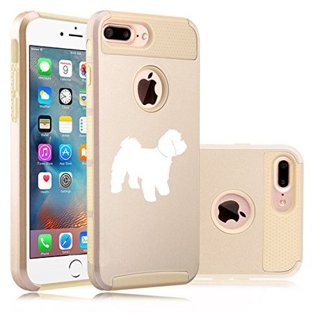 For Apple iPhone (7 Plus) Shockproof Impact Hard Soft Case Cover Maltipoo (Gold) ()