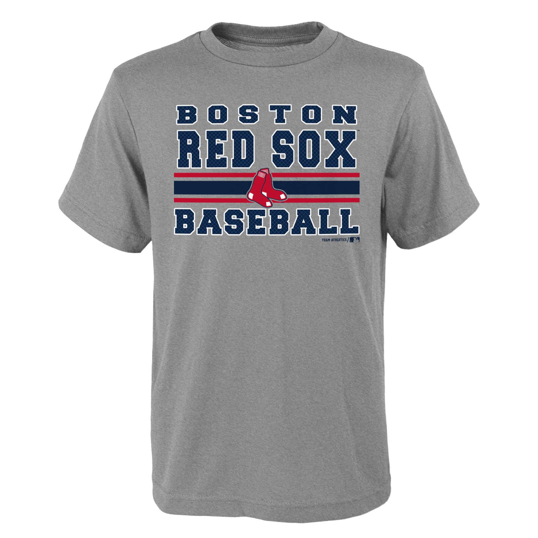 MLB Boston RED SOX TEE Short Sleeve Boys OPP 90% Cotton 10% Polyester Gray Team Tee 4-18