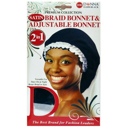 2 Pack - Donna Collection Premium 2 in 1 Satin Braid Bonnet & Adjustable Bonnet, Black 1 ea