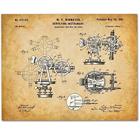 Architect Gift - Surveying Instrument - 11x14 Unframed Patent Print - Great Gift for Surveyors, Contractors or Architects