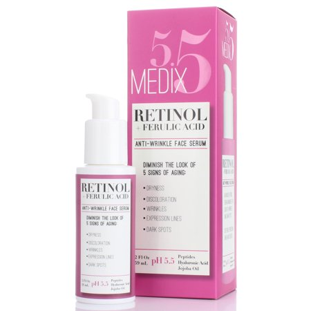 Medix 5.5 Retinol Serum for Wrinkles, Expression Lines, Dark Spots, and dry skin. 2oz Anti-aging face serum with Ferulic Acid, Hyaluronic Acid, Jojoba Oil, and peptides. Large 2FL Oz with