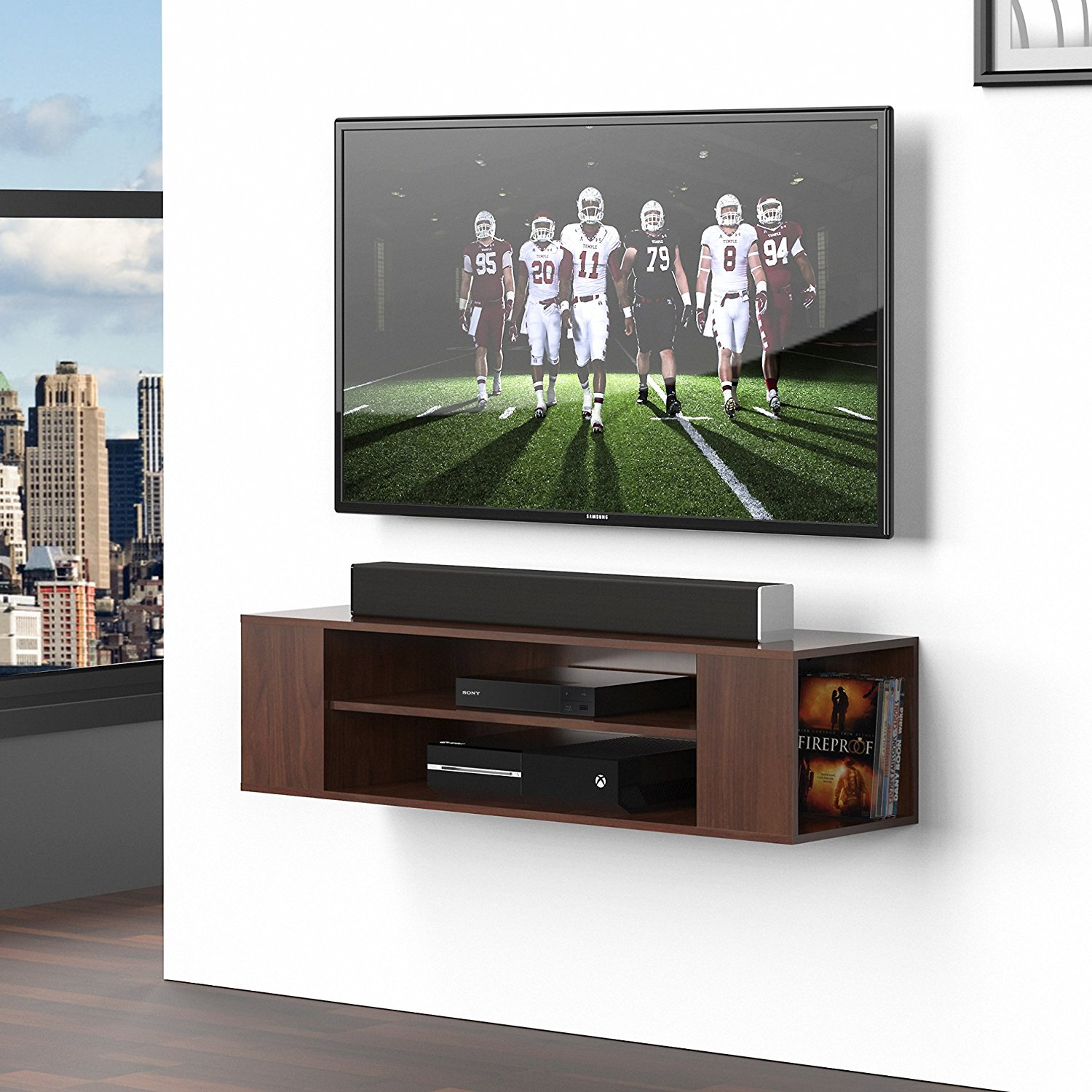 Fitueyes Walnut Universal Tv Stand Wall Mounted Media Console Shelf DS210001WB
