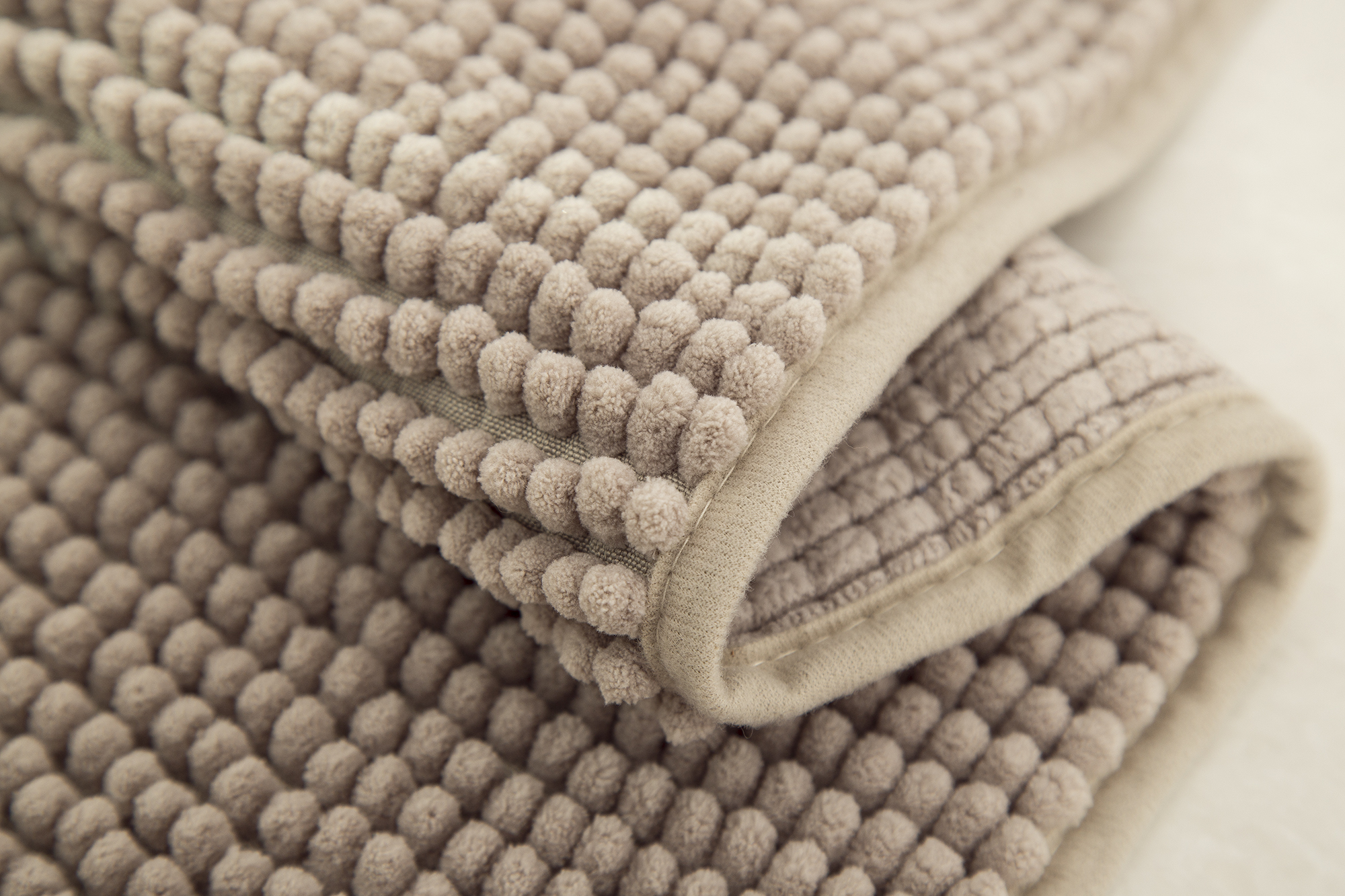 Taupe 17 x 24 RT Designers Collection Kara Short Pile Chenille Bath Mat Set
