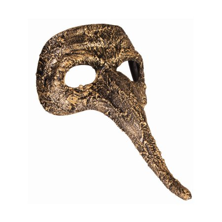 Halloween Textured Long Nose Mask Gold - Halloween Textures