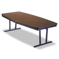 Barricks Manufacturing Co Economy Conference Folding Table, Boat, 96W X 36D X 30H, Walnut Brkect368W