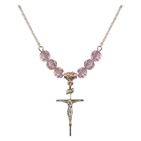 18-Inch Hamilton Gold Plated Necklace with 6mm Light Rose Pink October Birth Month Stone Beads and Crucifix Charm
