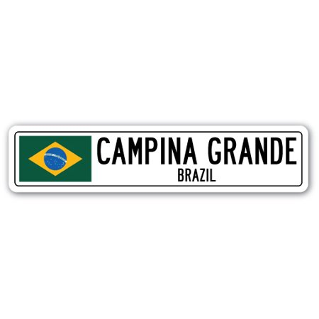 CAMPINA GRANDE, BRAZIL Street Sign Brazilian flag city country road wall gift