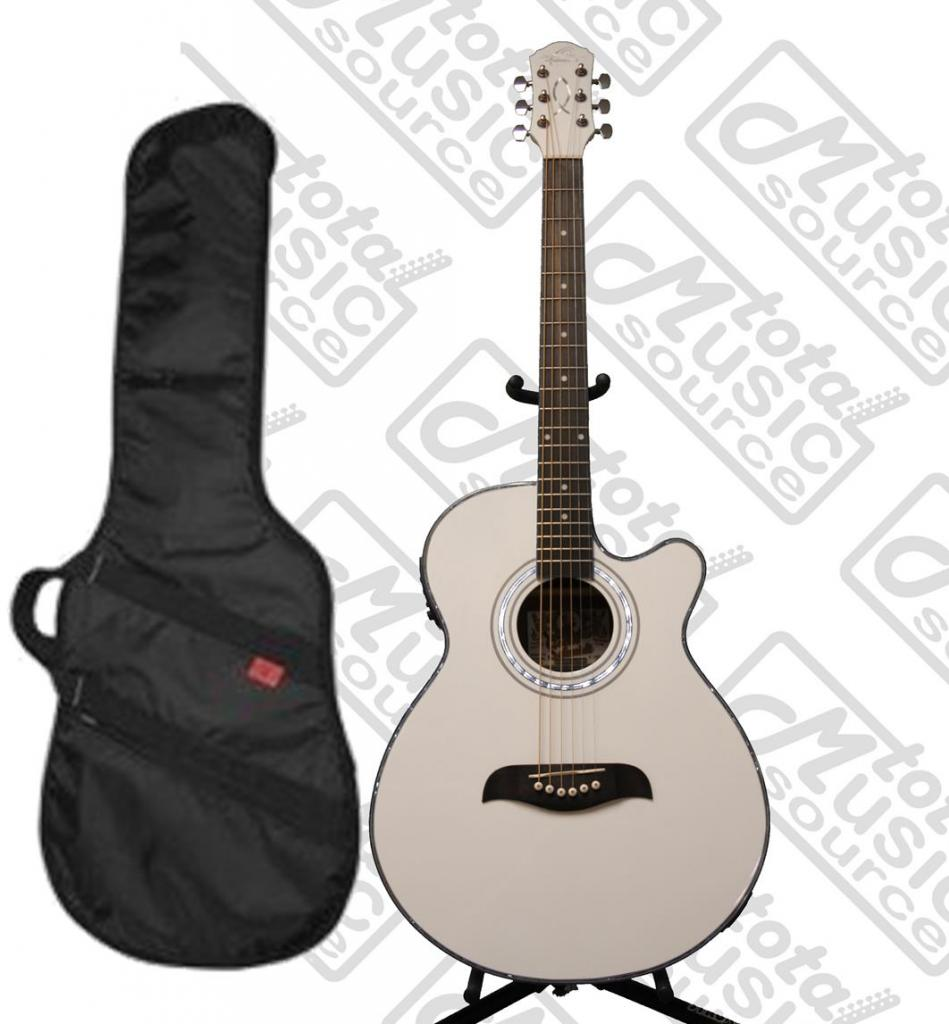 Oscar Schmidt OG10 White Acoustic Electric Guitar w  HD Padded Gig Bag, OG10CEWH-KA312 by Oscar Schmidt