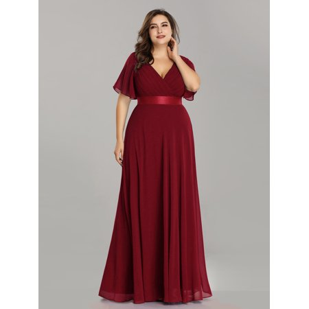 Ever-Pretty Womens Elegant Chiffon Short Sleeve Long Formal Evening Party Maxi Dresses for Women 98902 Burgundy US4 (Coral Maxi Dresses For Women)