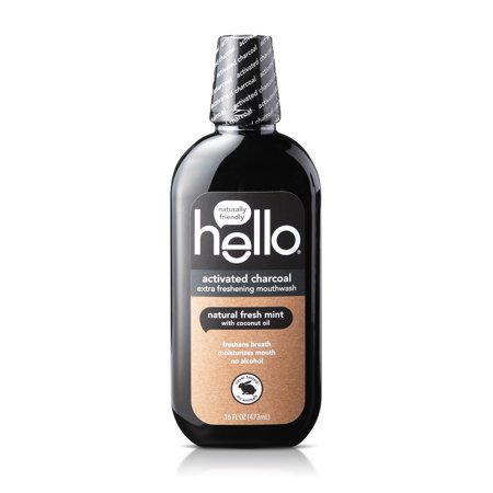 Hello Activated Charcoal Extra Freshening Mouthwash, Natural Fresh Mint, Alcohol Free And Vegan, 16oz ()
