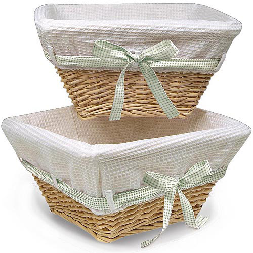 Badger Basket Natural Wicker Nursery Baskets with White Liners and 4 Ribbons, Set of 2