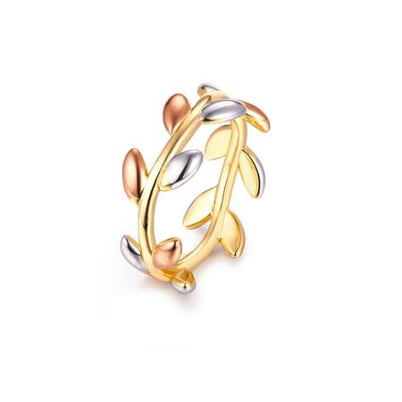 - 18K Gold Plated Tri-Gold Laurel Leaf Rin