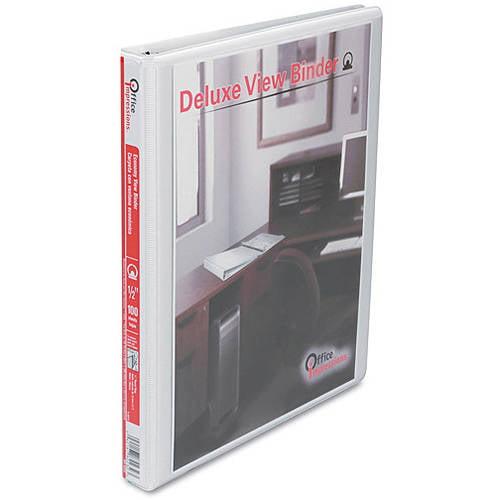 "Office Impressions 1/2"" Round Ring Economy Vinyl View Binder, White, 4 Pack"