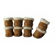 Pet Life F4BRSM Brown Shearling Duggz shoes - set of 4 - SM