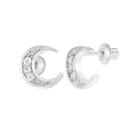 Rhodium Plated Clear Crystal Moon Safety Back Earrings For S