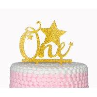 One Happy Birthday Gold Cake Topper,Star Cake Topper,Twinkle Twinkle Little Star Birthday