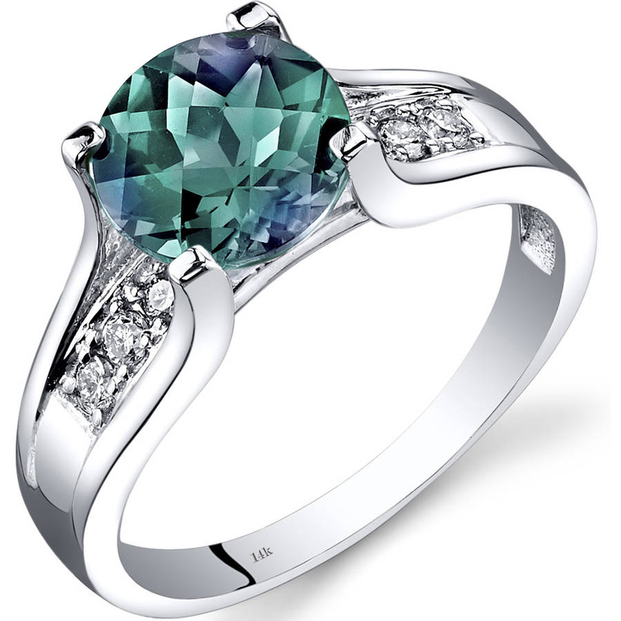 Oravo 2.25 Carat T.G.W. Created Alexandrite and Diamond Accent 14kt White Gold Ring by Oravo